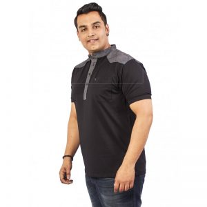 Xmex Men's plus size half sleeve Chinese collar t-shirt black