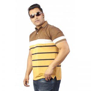 Xmex Men's plus size half sleeve stripe collar t-shirt mustard