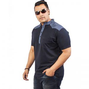 Xmex Men's plus size half sleeve Chinese collar t-shirt navy