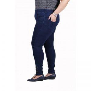 Xmex plus size elastic waist stretch classy indigo denim jeggings with denim pockets narrow fit very comfortable stretch