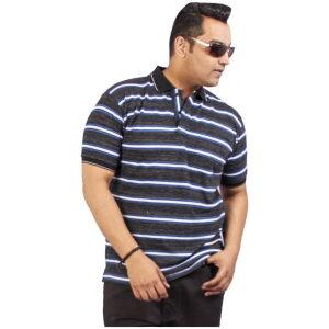 Xmex Men's plus size half sleeve stripe collar t-shirt navy