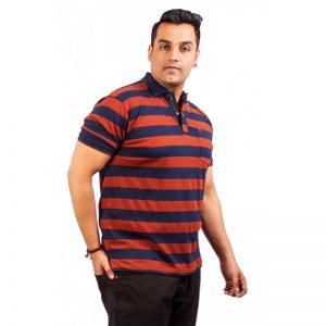 Xmex Men's plus size half sleeve stripe collar t-shirt rust