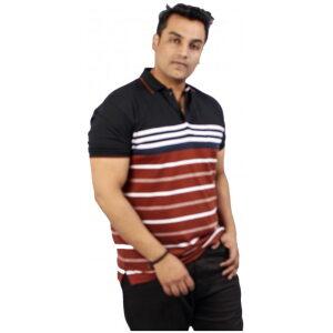 Xmex Men's plus size half sleeve stripe collar t-shirt light rust