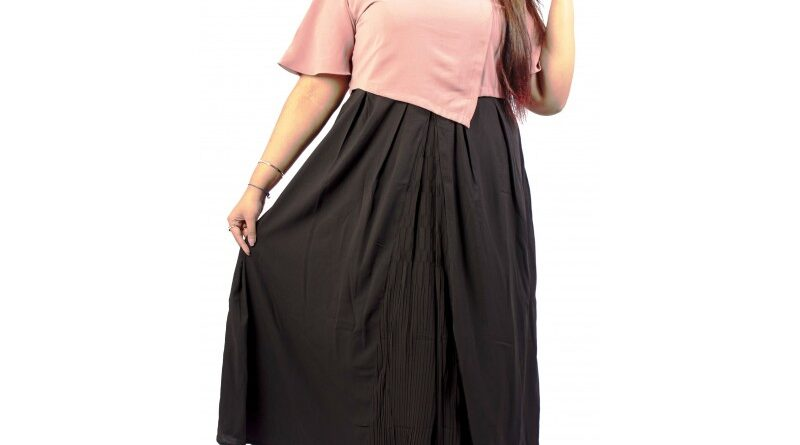 Xmex Womens plus size stylish two piece long dress with embroidery motif on the pink top half sleeves