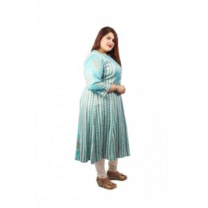 Xmex womens plus size printed sky blue screen printed lovely 3/4 th sleeves cotton kurti semi casual wear