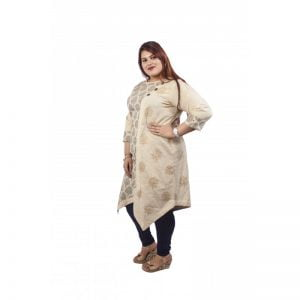 Xmex womens plus size block print mix n match biased cut 3/4rth sleeves stylish cotton natural beige kurti for semi casual and classy wear.