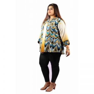 Xmex womens plus size classy printed hip covering top 3/4rth sleeves stylish fashion smart semi party wear fomal club wear