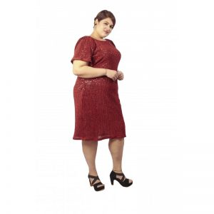 Womens classy red sequined party wear stylish designer a line dress Xmex
