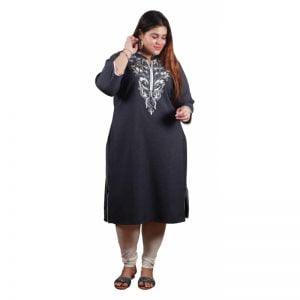 Xmex plus black color lovely embroidered long kurti 3/4 sleeves.