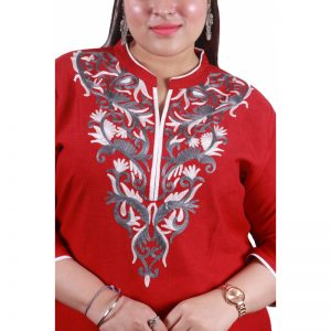 Xmex plus red color lovely embroidered long kurti 3/4 sleeves.