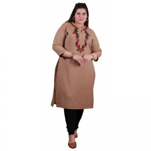 Xmex plus size camel color lovely embroidered long kurti 3/4 sleeves.