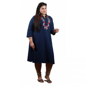 Xmex plus size navy color lovely embroidered long kurti 3/4 sleeves.