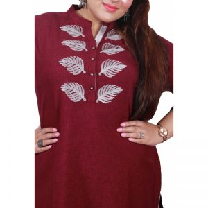 Xmex plus size maroon color lovely embroidered long kurti 3/4 sleeves.