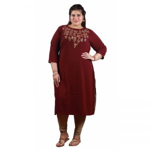 Xmex plus size wine color lovely hand work long kurti 3/4 sleeves.