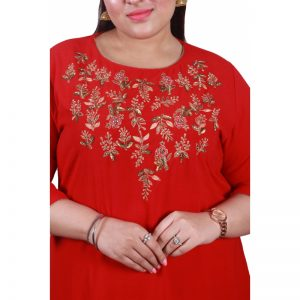 Xmex plus size red color lovely hand work long kurti 3/4 sleeves.