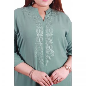 Xmex plus size light grey color lovely embroidered long kurti 3/4 sleeves.