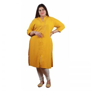 Xmex plus size mustard color lovely embroidered long kurti 3/4 sleeves.