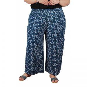 Xmex plus size cotton printed stylish casual palazzo pants indigo color.