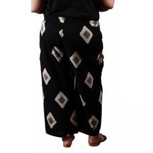 Xmex plus size cotton block printed stylish casual palazzo pants black color.
