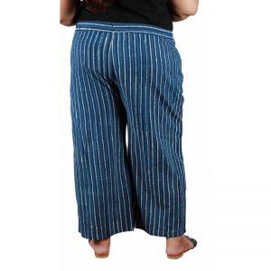 Xmex plus size cotton border print stylish casual palazzo pants indigo color.