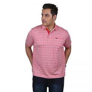 Xmex plus size men's collar polo neck pink color t-shirt.