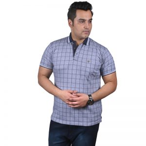 Xmex plus size men's collar polo neck grey color t-shirt.